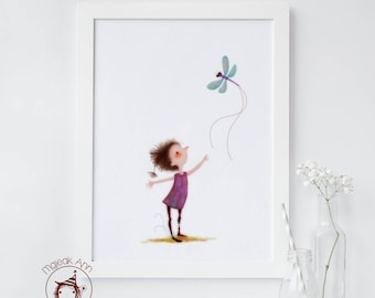Follow the Light - Limited Edition Poster size - Baby Decor Whimsical Dragonfly wall art - Dreamy Nursery wall art - Fairy wall art print