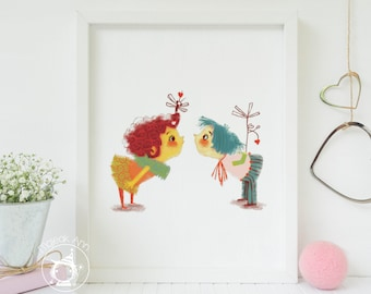 First Kiss -Nursery Decor - Boy and baby Girl Decor - Baby Wall Art - Whimsical, Love and Colorful Fine Art print illustration