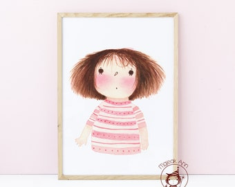 Fuzzy Roze -Poster Nursery Decor - Baby Girl Decor - Brown hair girl - Whimsical wall art - cute print- First Birthday, Baby Shower gift