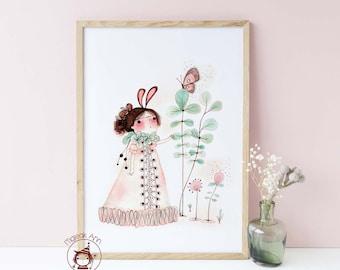 Awakening - Poster size -Nursery Decor wall art - Baby Girl Decor wall art- Butterfly & Girl -Whimsical, Magical Fine Art print illustration