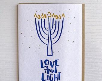 Hanukkah Cards,  Letterpress Hanukkah Cards, Love & Light Hanukkah, Menorah Cards, Bulk Hanukkah Cards