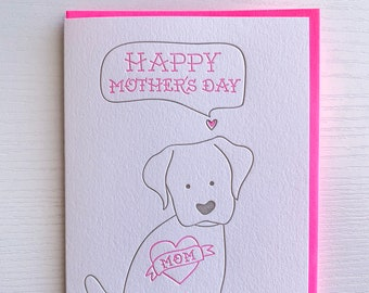 Individually Hand Painted Mother\u2019s Day Card love from the dog Dog mom Pitbull mom