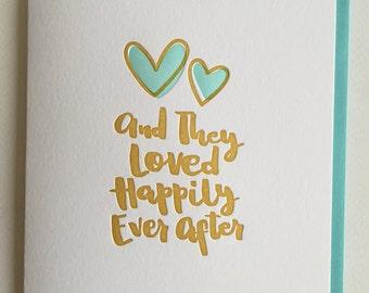 Anniversary card Congrats Wedding card - Anniversary Card, Newlyweds card -  Hand-lettered letterpress Wedding Card  -  DeLuce Design