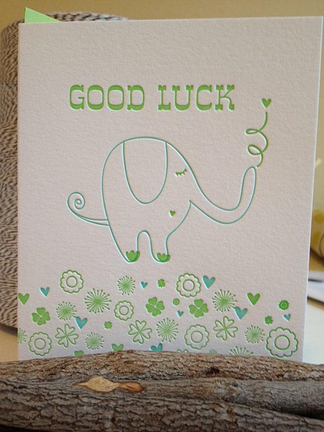 Good Luck Card - Good Luck Greeting Card - Letterpress Good Luck - St Patrick's Day Card - DeLuce Design