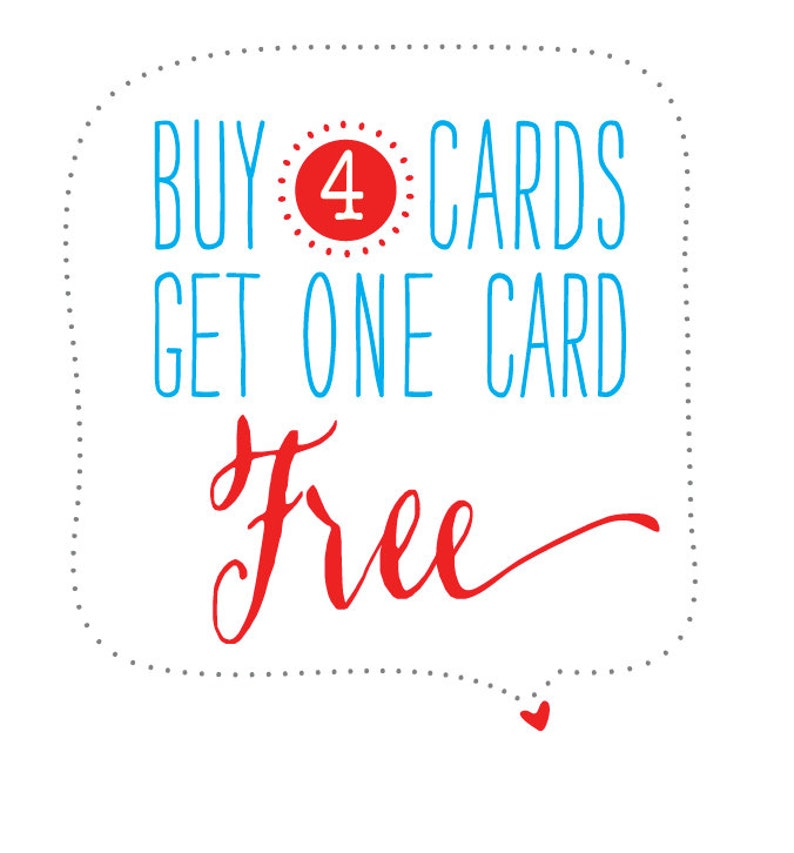 Buy Any 4 Cards Get One Card Free Etsy