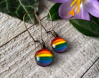 Rainbow LGBTQIA Pride Drop Earrings, MEDIUM Sized, Kidney Wire Hooks, Antiqued Brass Plated, Nickel Free! LGBTQ