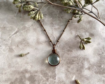 Spring Rain Drop, Art Glass Necklace, Antiqued Brass, Wanderlust Jewelry, Raindrop Necklace, Wirewrapped Jewelry, Gift for her