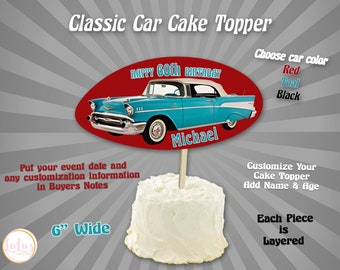 Personalised 1953 Corvette Classic Sports Car Cake//Cupcake Topper On Rice Paper