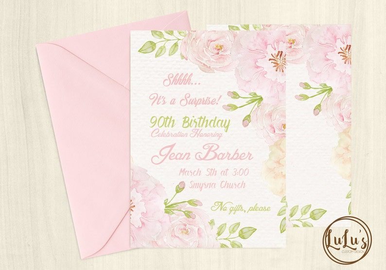 90th Birthday Invitation Party Invites
