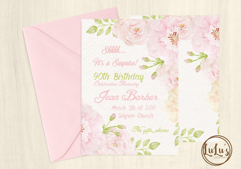 90th Birthday Invitation Party Invites