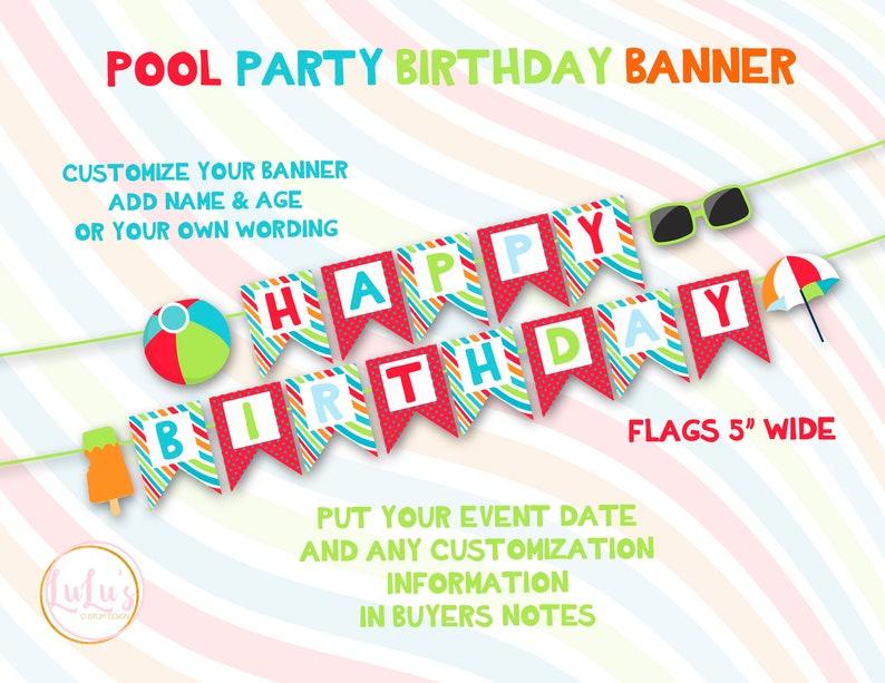 Pool Birthday Party Banner - Beach Ball Birthday Party - Beach Birthday  Party - Pool Party First Birthday - Pool Party Decor