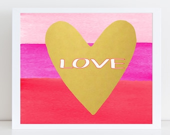 Watercolor Love Wall Art - Canvas Wall Art - Home Decor - Digital Print - Love Wall Canvas - Bedroom Wall Art - Valentines Day Wall Art