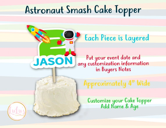 Excellent Astronaut Birthday Smash Cake Topper Rocket Ship Birthday Etsy Funny Birthday Cards Online Elaedamsfinfo