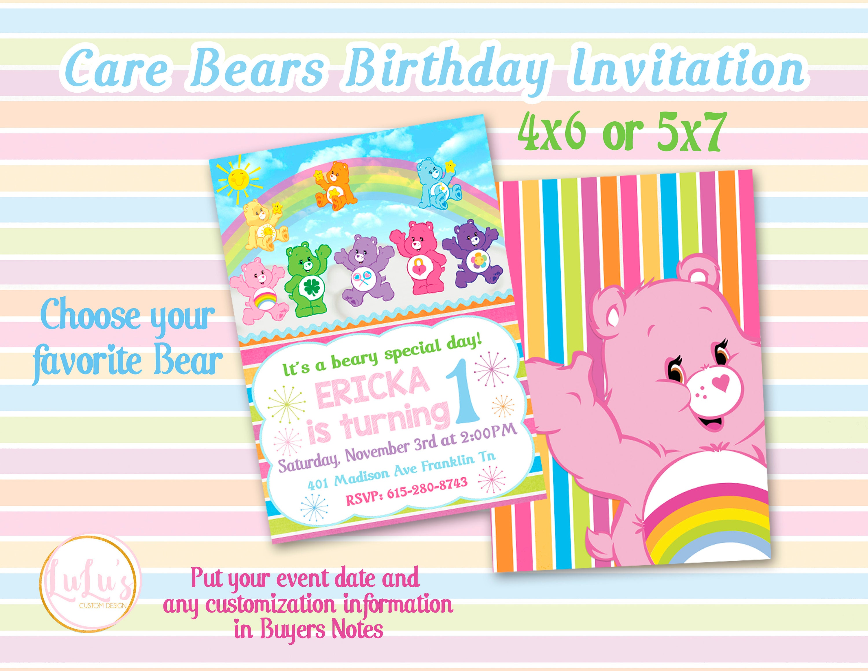 Care Bears Birthday Party Invitations First Birthday Care Etsy