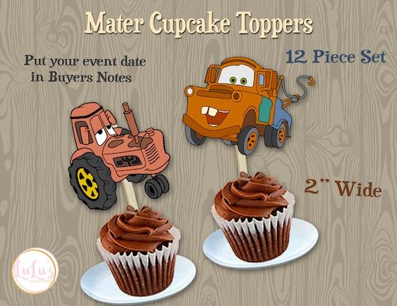 Amazing Mater Cupcake Toppers Disneys Mater Party Cars Birthday Etsy Funny Birthday Cards Online Benoljebrpdamsfinfo