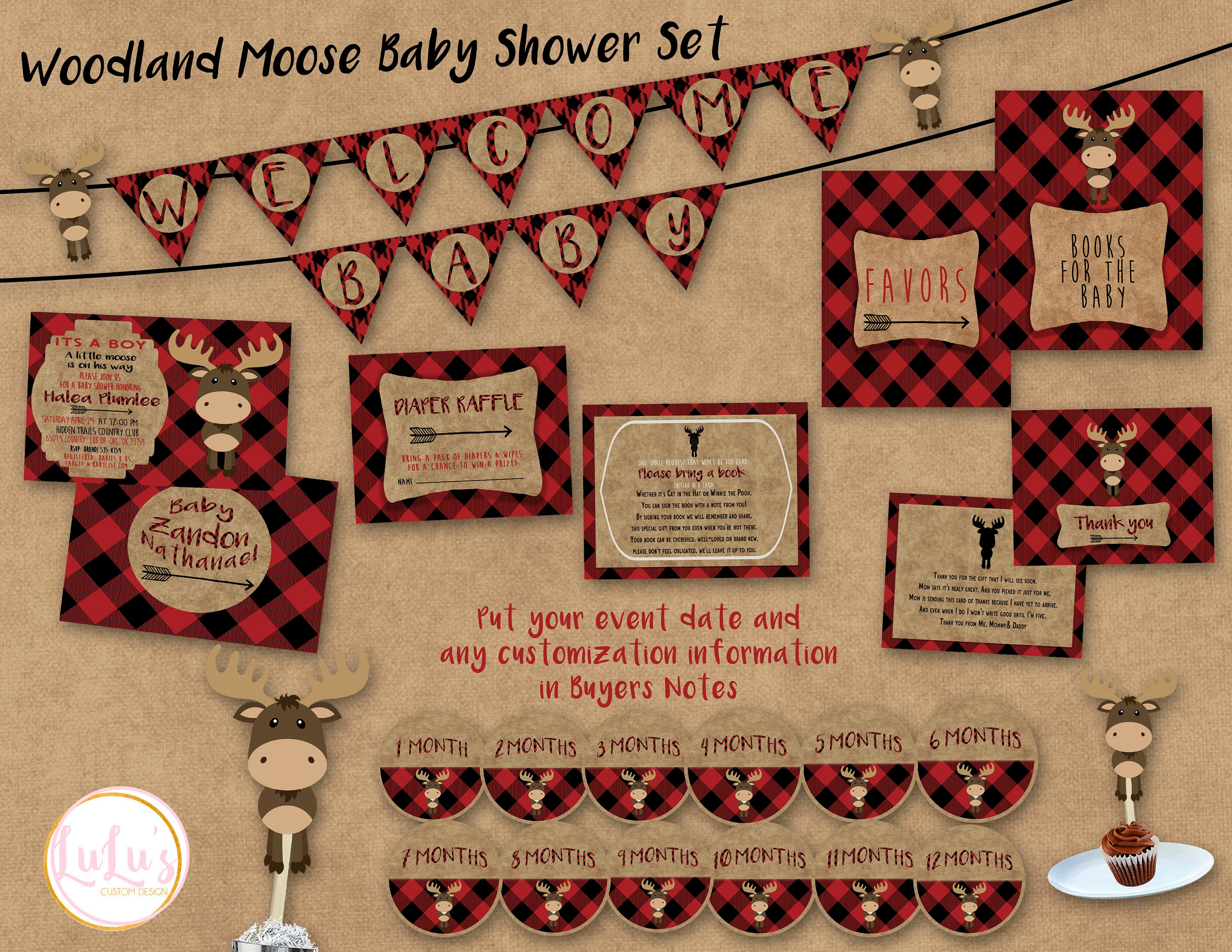 c335859fadcf5 Woodland Moose Baby Shower Party Pack Shower Invitations