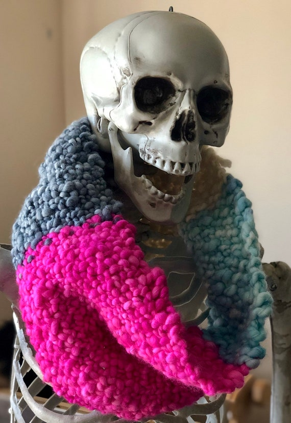 Hand dyed, hand knitted cowl