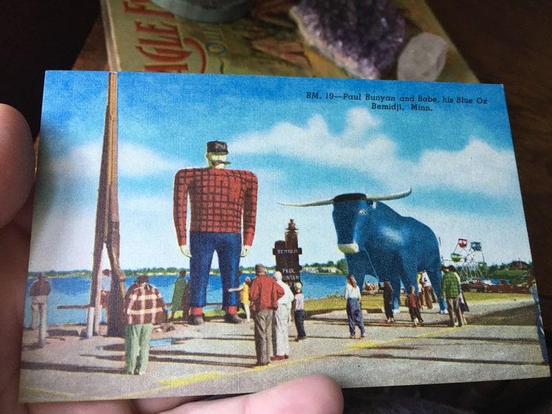 Vintage Original Paul Bunyan & Babe the Blue Ox- Bemidji, Minnesota Post  Card- Free Shipping!