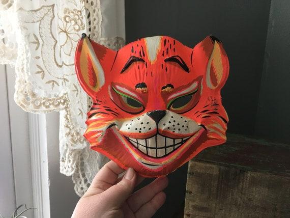 Vintage 1980s Halloween Plastic Pyscho Stripe Horror Carnival Mask