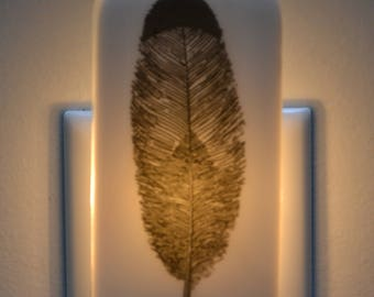 Black Feather Fused Glass Night Light