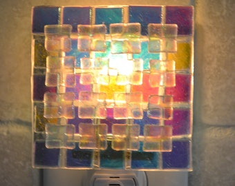 Dichroic Pieces Fused Glass Night Light