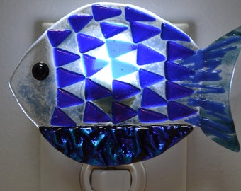 Blue Triangle Fish Fused Glass Night Light