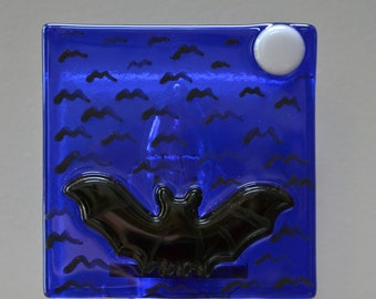 Bat in the Night Sky Fused Glass Night Light