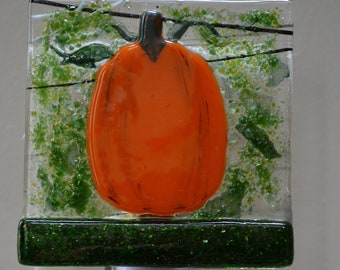 Tall Pumpkin Fused Glass Night LIght with Switch