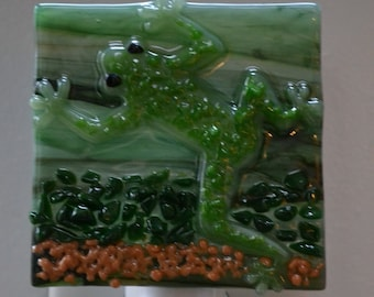 Green Frog Fused Glass Night Light with Switch