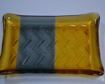 Gold and Gray Glass Soap Dish with Chevron Imprint