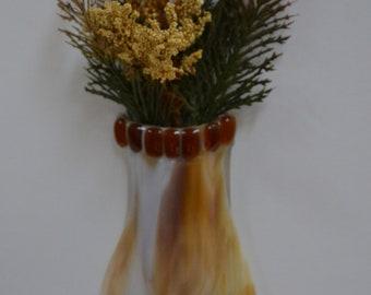 Amber Fused Glass Pocket Vase