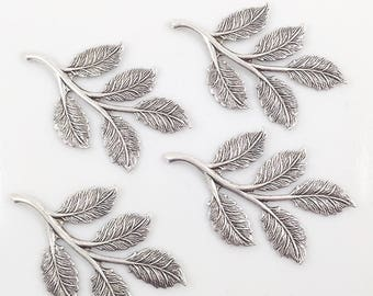 Antiqued Silver Leaves, Brass Leaf, Rose Leaf, Wedding Supply, Hairpiece Supply, Leaf Stamping, Brass Drop, 32mm x 50mm - 4 pcs. (sl344)