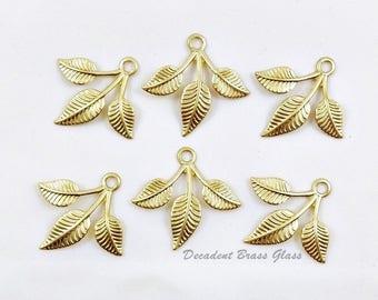 Raw Brass Leaves, Brass Leaf, Leaf Charm, Brass Charm, Raw Brass Stamping, 25mm x 27mm - 6 pcs. (r322)