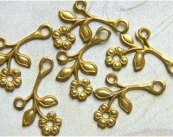 12 pcs. Raw Brass Flower Leaf Stamping Right Facing Drop 12mm x 22mm - (r145)