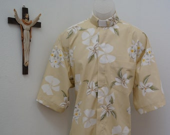CAMP Clerical shirt white orchids on creamy tan. All cotton. Select size made to order.  Select Tab or Fullband ready. Untucked