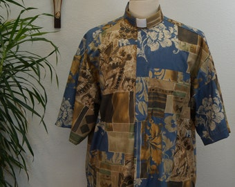 CAMP Clerical shirt, Blue Eden tropical print All Cotton, select your size made to order. Select TAB or Fullband ready Untucked style
