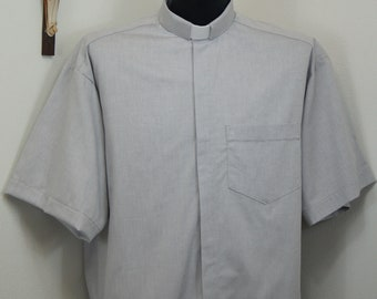 CAMP Clerical tab shirt, GRAY cotton-rich Oxford cloth, select your size made to order. Select TAB or Fullband ready Untucked style