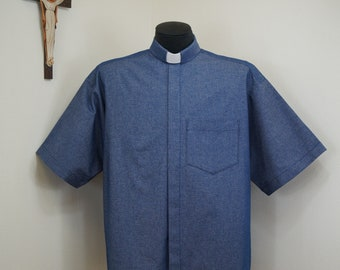CAMP Clerical tab shirt, Blue denim All Cotton, select your size made to order. Select TAB or Fullband ready Untucked style
