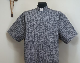CAMP Clerical tab shirt, GRAY chevrons totally cotton, select your size made to order. Select TAB or Fullband ready Untucked style
