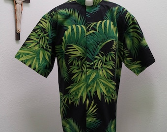 CAMP Clerical shirt palms set on black. No pocket. Made to order. Select your size and collar type. Untucked style