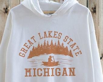 Michigan Hoodie, Great Lakes Hoodie, State Hoodie, College Hoodie, Unisex Hoodies, 70s Style, Hiking & Camping