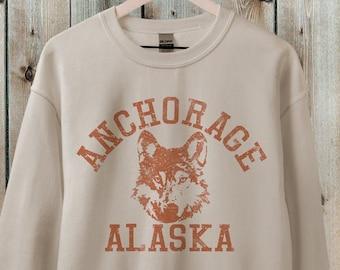 Alaska Sweatshirt, Anchorage Sweatshirt, Retro 70s style  Unisex Graphic Sweatshirts for Guys or Ladies, Hiking & Camping Tee
