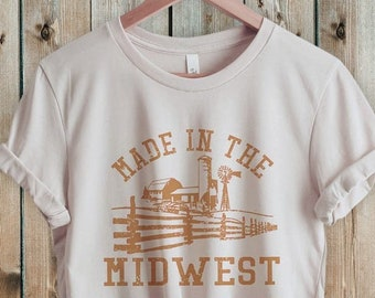 Midwest Shirt, Farm Shirt, Retro 70s style  Unisex Graphic Tee for Guys or Ladies, Hiking & Camping Shirts