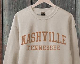 Nashville Tennessee Sweatshirt, Retro 70s style  Unisex Graphic Sweatshirts for Guys or Ladies, State Sweatshirt