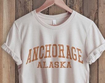 Anchorage Alaska Shirt, Alaska Shirt, State Shirt, Retro 70s style  Unisex Graphic Tee for Guys or Ladies, Hiking & Camping Shirts