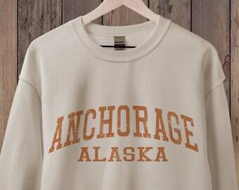 Anchorage Alaska Sweatshirt, Anchorage Sweatshirt, Alaska Apparel, Retro 70s style Graphic Sweatshirts for Guys or Ladies, Hiking & Camping