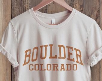 Boulder Colorado T-Shirt, Colorado Shirt, Boulder Shirt, State Shirt, City Shirt, Retro 70s style Unisex Graphic Tee for Guys or Ladies