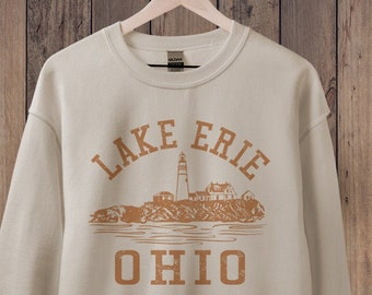 Lake Erie Ohio Sweatshirt, Great Lakes Sweatshirt, State Shirt, College Sweatshirt, 70s Style, Hiking & Camping