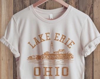 Lake Erie Ohio Shirt, Great Lakes Shirt, Collegiate Shirt, State Shirt, Retro 70s style Unisex for Guys or Ladies, Hiking & Camping Shirts