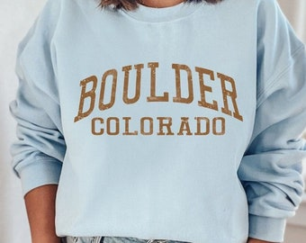 Boulder Colorado Sweatshirt, Boulder Sweatshirt, Colorado Sweatshirt, State Retro 70s Unisex Graphic Sweatshirts Guys Ladies 4RUST PBL
